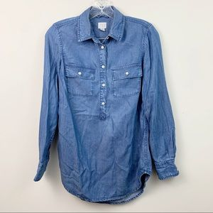 A New Day Denim Chambray Popover Blouse Size XS